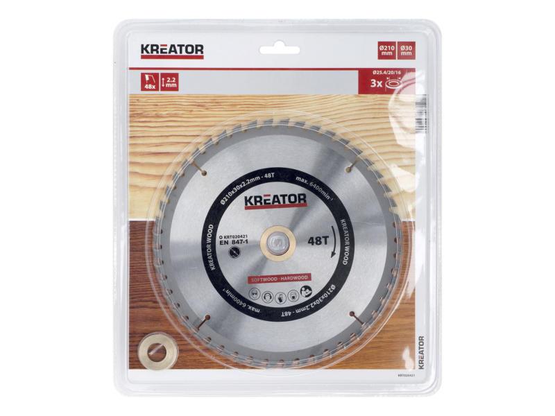 Kreator KRT020421 lame de scie circulaire 210mm 48D bois