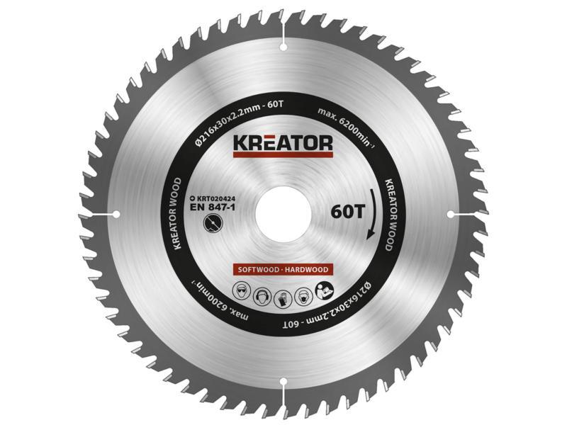 Kreator KRT020424 lame de scie circulaire 216mm 60D bois