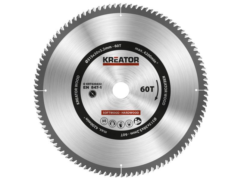 Kreator KRT020432 lame de scie circulaire 315mm 60D bois