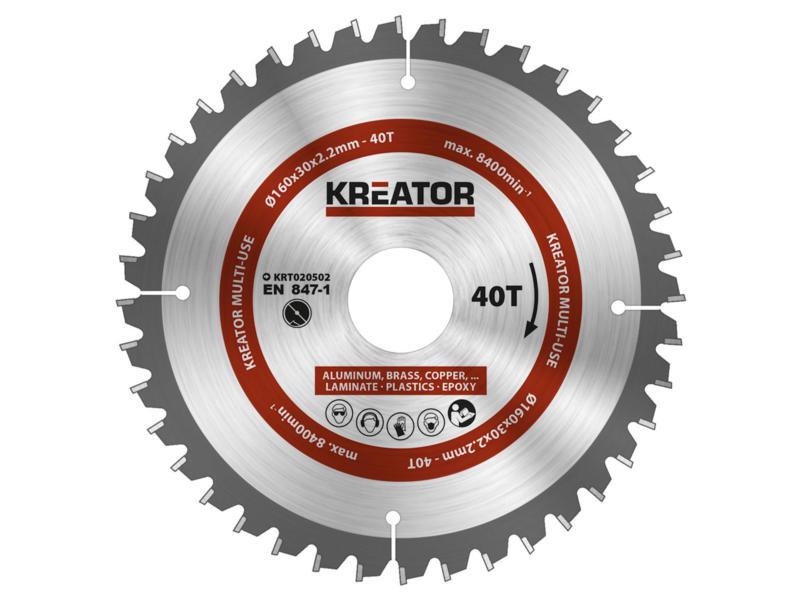 Kreator KRT020502 lame de scie circulaire universelle 160mm 40D