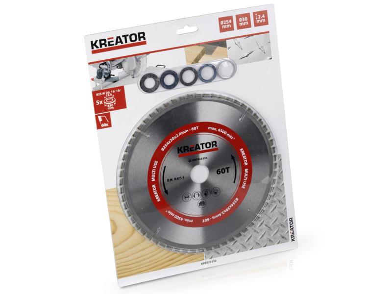 Kreator KRT020505 lame de scie circulaire universelle 254mm 60D