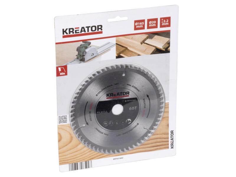 Kreator KRT021602 cirkelzaagblad 165mm 60T hout