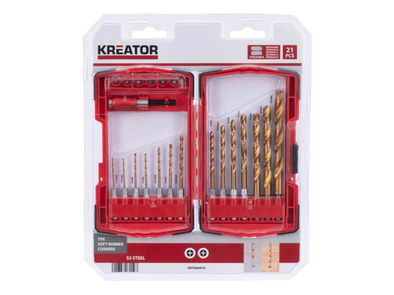 Kreator KRT064910 coffret de mèches et d'embouts set de 21