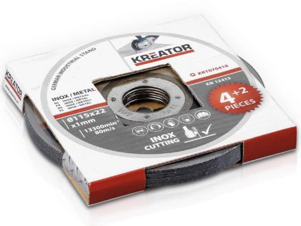 Kreator KRT070410 disque à tronçonner inox-métal 115x1x22 mm 4+2 pièces