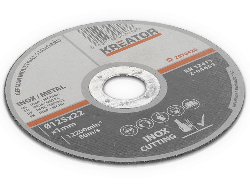 Kreator KRT070420 disque à tronçonner inox-métal 125x1x22 mm 4+2 pièces