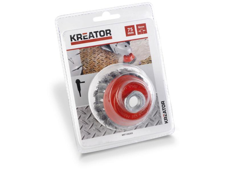 Kreator KRT150203 brosse soucoupe 75mm acier torsadé