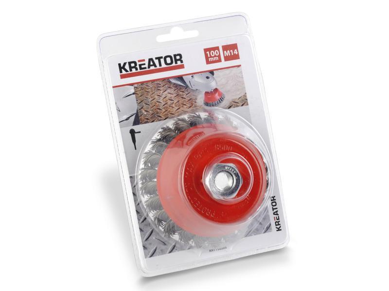 Kreator KRT150205 M14 brosse soucoupe 100mm acier torsadé