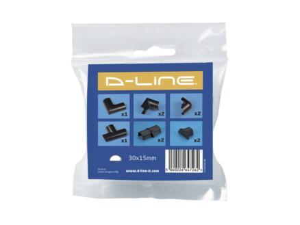 D-Line Kabelgoot adapter set 30x15 mm zwart