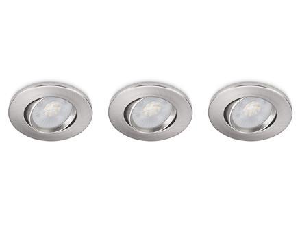 Prolight LED inbouwspot 3W nikkel 3 stuks