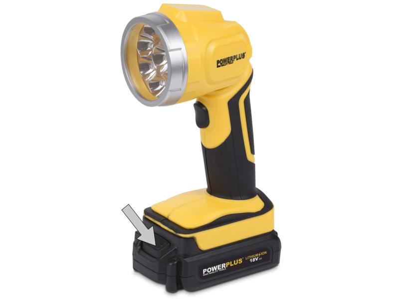 Powerplus LED lampe torche de chantier rechargeable 18V Li-Ion batterie