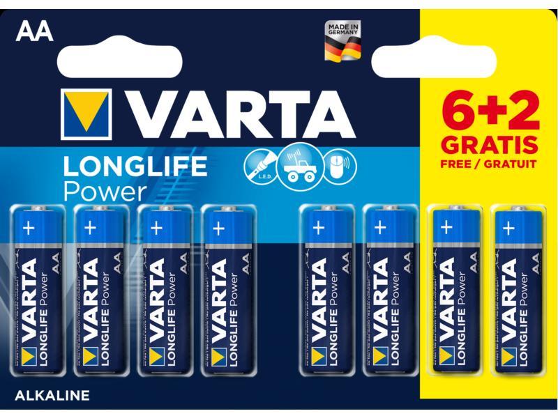 Varta Longlife Power batterijen AA 1,5V 6+2 gratis