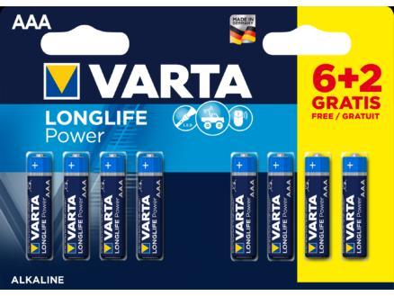 Varta Longlife Power piles AAA 1,5V 6+2 gratuites