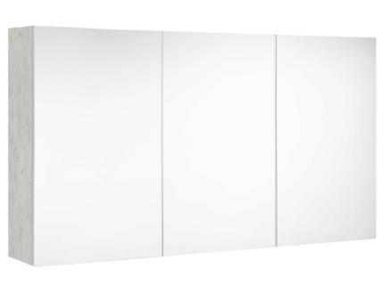 Allibert Look armoire de toilette 120cm 3 portes miroir béton clair