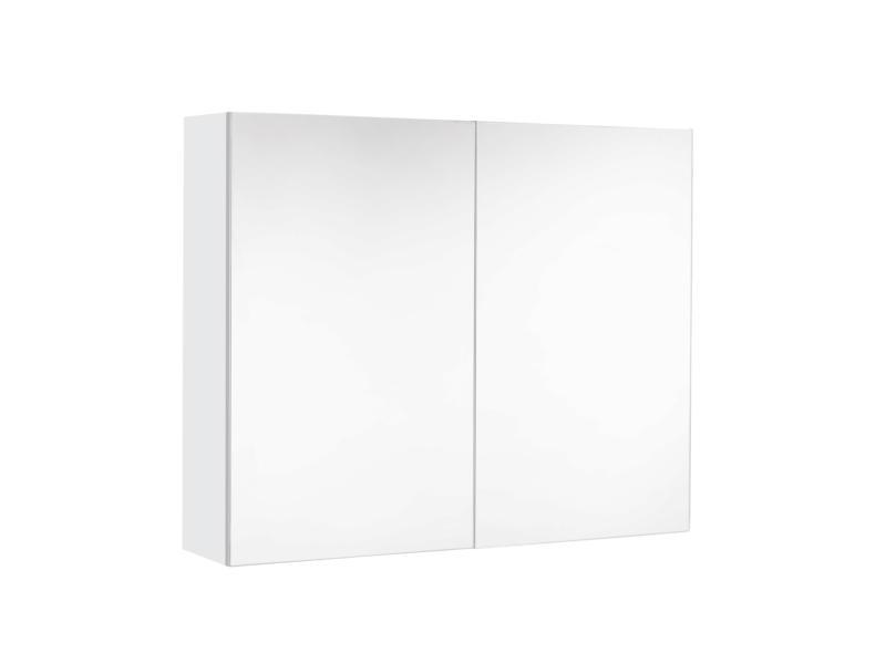 Allibert Look armoire de toilette 80cm 2 portes miroir blanc brillant