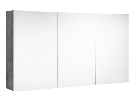 Allibert Look spiegelkast 120cm 3 deuren donkere beton