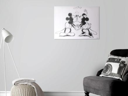 Disney Mickey Mouse canvasdoek 70x50 cm kissing