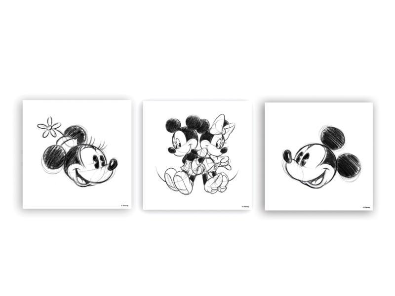 Disney Mickey Mouse toile imprimée 30x30 cm 3 pièces