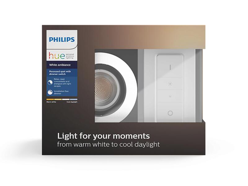 Philips Hue Milliskin LED inbouwspot GU10 5,5W aluminium + dimmer