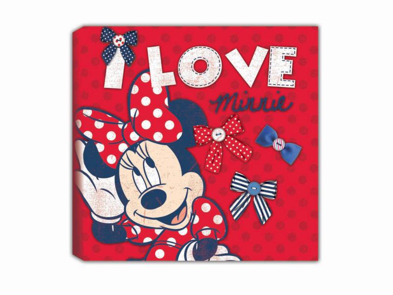 Disney Minnie Mouse toile imprimée carrée 30x30 cm rouge