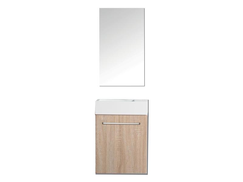 Aqualine Murcia toiletmeubel met handenwasser en spiegel 40cm wit eiken