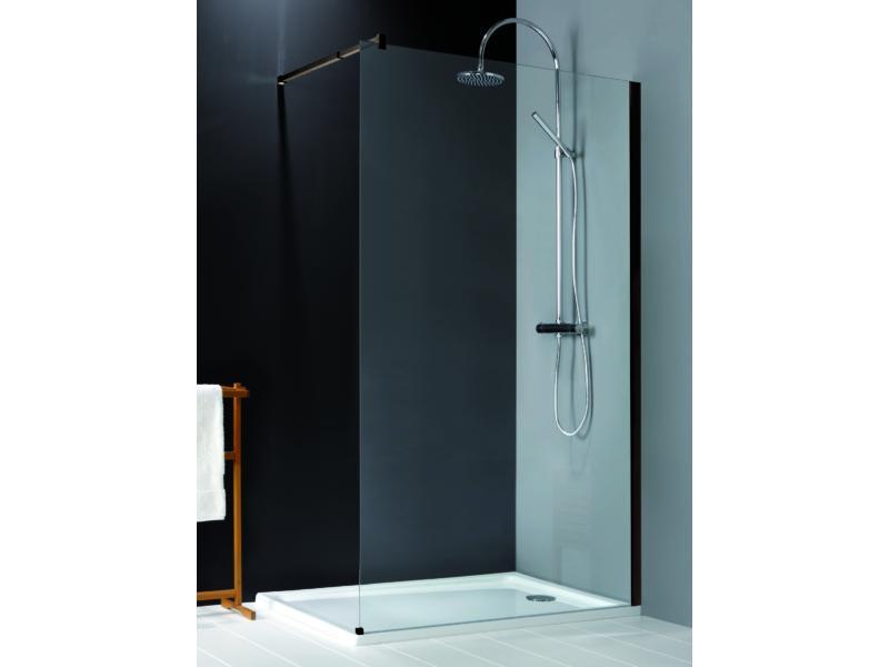 Lafiness New Free douchewand 90x200 cm vrijstaand helder glas zwart