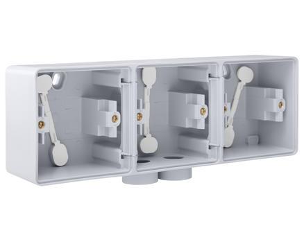 Niko New Hydro boîte en saillie triple horizontale avec une entrée M20 double gris