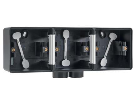 Niko New Hydro drievoudige horizontale opbouwdoos met tweevoudige ingang M20 zwart