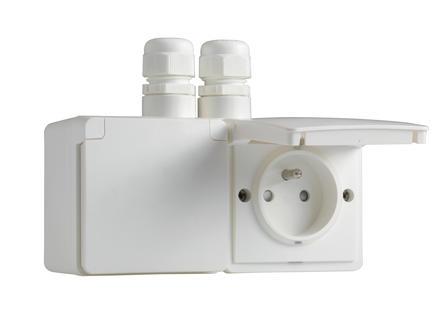 Niko New Hydro dubbel stopcontact met doos en 2 ingangen wit