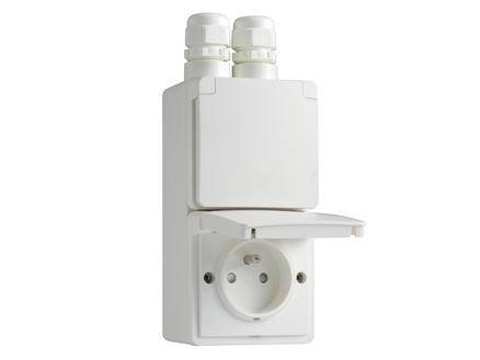 Niko New Hydro dubbel verticaal stopcontact met doos en 2 ingangen wit