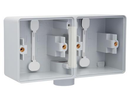 Niko New Hydro dubbele horizontale opbouwdoos met enkelvoudige ingang M20 grijs