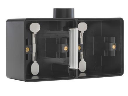 Niko New Hydro dubbele horizontale opbouwdoos met enkelvoudige ingang M20 zwart