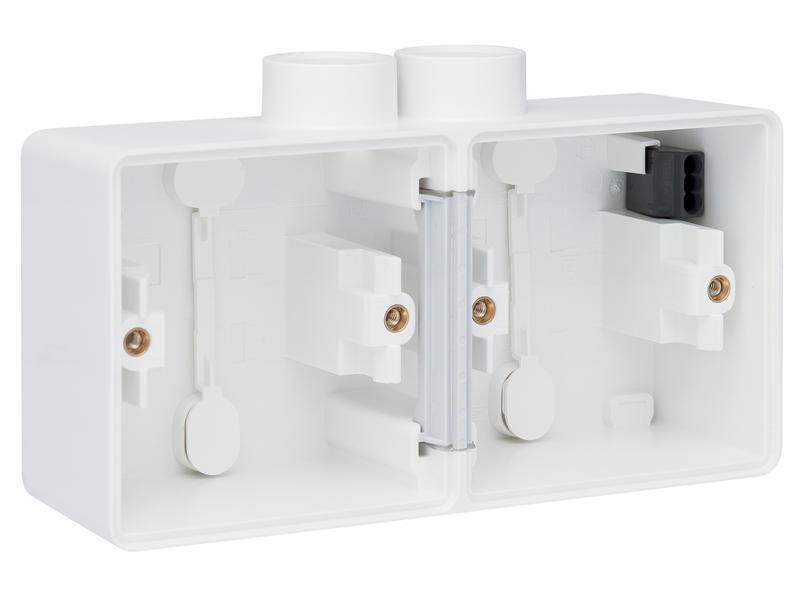 Niko New Hydro dubbele horizontale opbouwdoos met tweevoudige ingang M20 wit