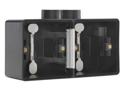 Niko New Hydro dubbele horizontale opbouwdoos met tweevoudige ingang M20 zwart