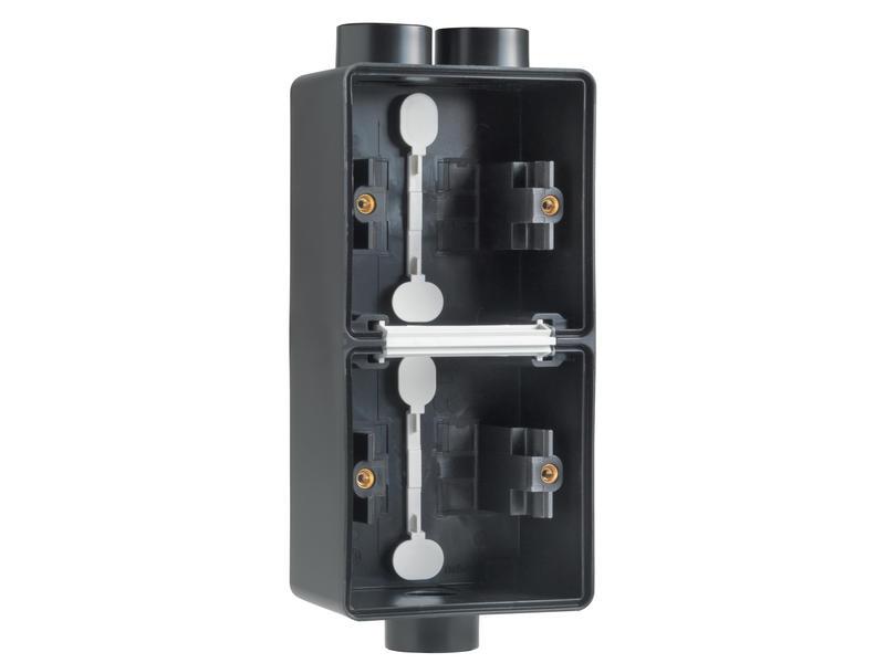 Niko New Hydro dubbele verticale opbouwdoos met tweevoudige en enkelvoudige ingang M20 zwart