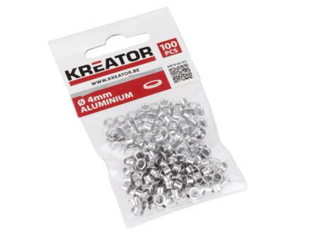 Kreator Oogje 4mm aluminium 100 stuks
