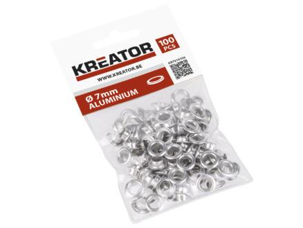Kreator Oogje 7mm aluminium 100 stuks