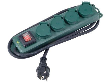 Profile Outdoor stekkerdoos 4x met schakelaar en kabel 1,5m spatwaterdicht groen