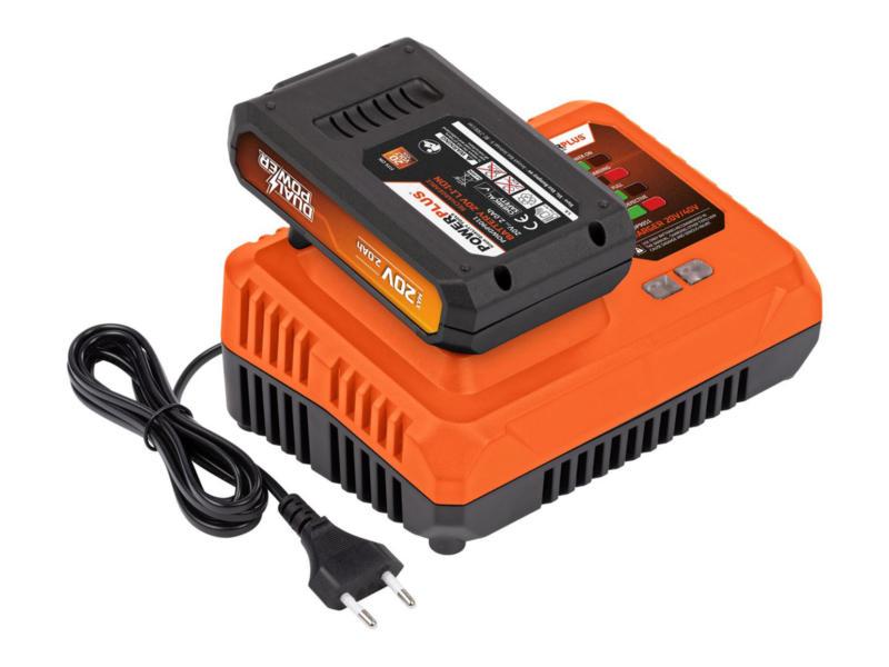 Powerplus Dual Power POWDP9062 acculader 20V/40V + accu 20V Li-Ion 2.0Ah