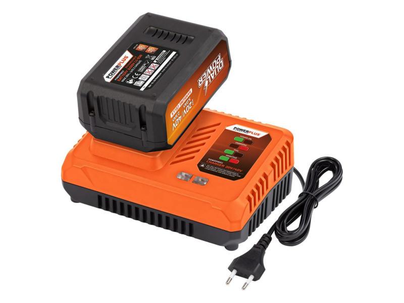 Powerplus Dual Power POWDP9064 chargeur de batterie 20V/40V + batterie 40V Li-Ion 2.5Ah