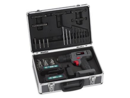 Powerplus POWESET1 perceuse-visseuse 18V Li-Ion avec 2 batteries + 153 accessoires