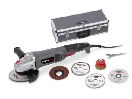 Powerplus POWESET2 haakse slijper 900W 125mm  + 5 accessoires