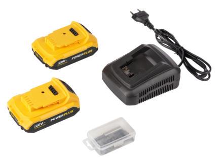 Powerplus X POWX00510 accu schroef- en klopboormachine 20V Li-Ion met 2 accu's + lader + 2 accessoires