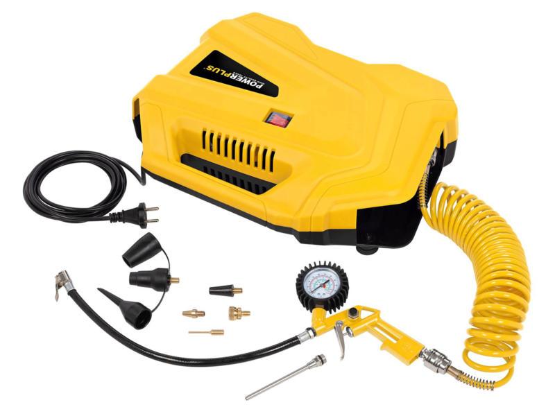 Powerplus POWX1706 compresseur 1100W sans huile +11 accessoires