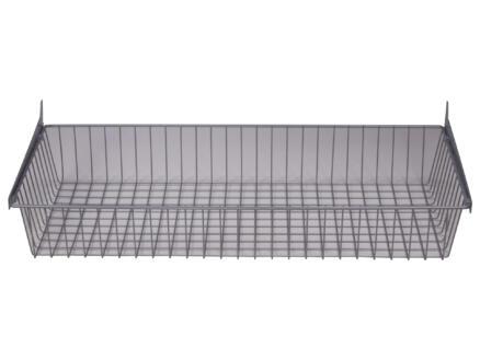 Panier en fil de fer avec 2 supports 80x35 cm aluminium