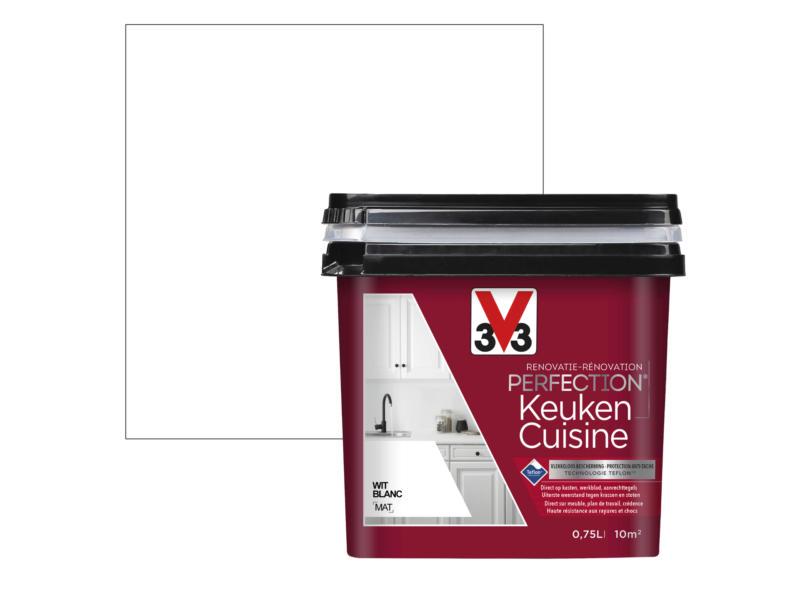 V33 Perfection peinture rénovation cuisine mat 0,75l blanc