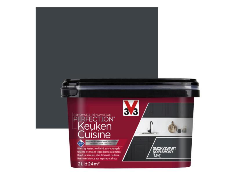 V33 Perfection peinture rénovation cuisine mat 2l noir smoky