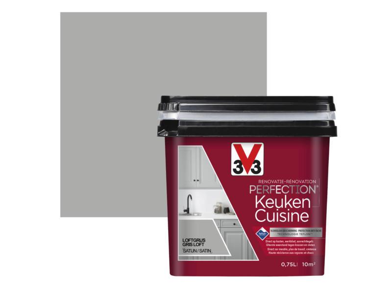 V33 Perfection peinture rénovation cuisine satin 0,75l gris loft