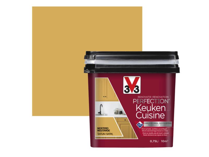V33 Perfection peinture rénovation cuisine satin 0,75l moutarde