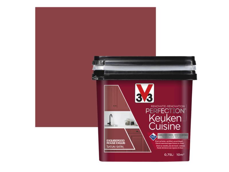 V33 Perfection peinture rénovation cuisine satin 0,75l rouge exquis