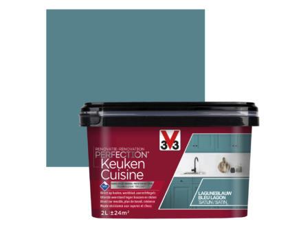 V33 Perfection peinture rénovation cuisine satin 2l bleu lagon